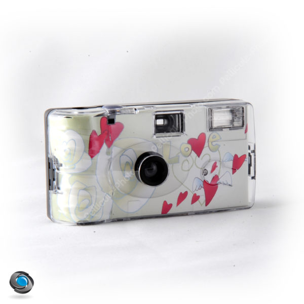 appareil photo jetable mariage coeurs rouges