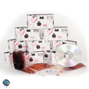 lot de 10 appareils photos jetables mariage développement sur CD compris
