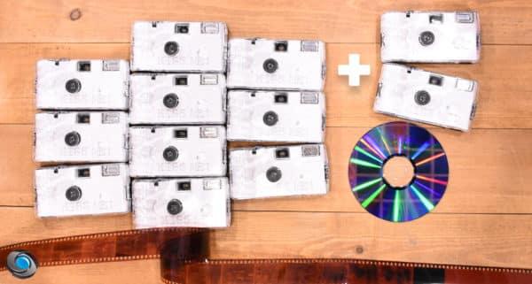 10 appareils jetables Kiss Me développement CD compris +2 offerts