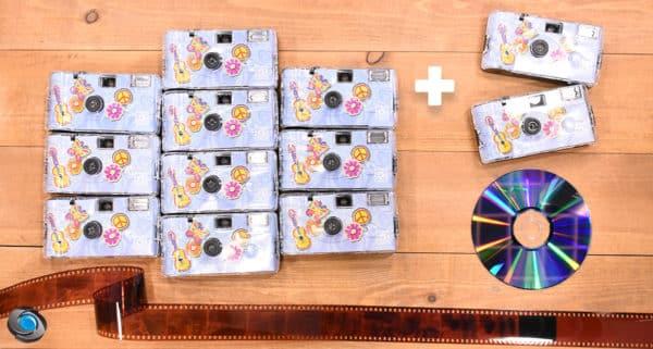 10 appareils jetables mariage Flower Power développement CD compris +2 offerts